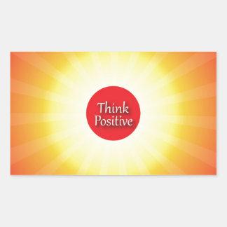 Piense el positivo rectangular pegatina