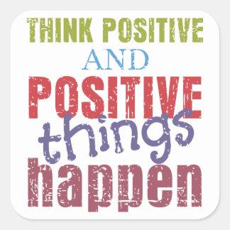 Piense el positivo pegatina cuadrada