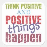 Piense el positivo pegatina cuadradas