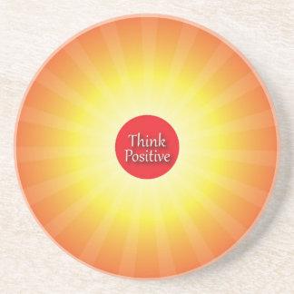 Piense el positivo posavasos personalizados