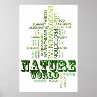 Piense el poster ambiental de la naturaleza verde