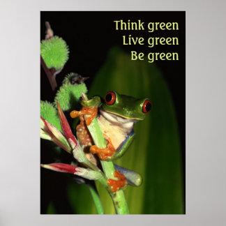 Piense el poster verde