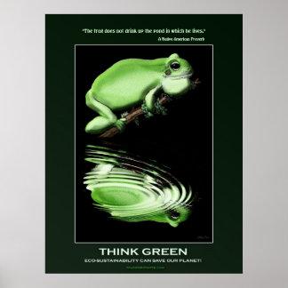PIENSE el poster VERDE de Eco del arte de la rana