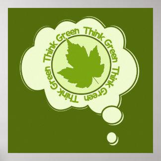 Piense el poster verde, personalizable