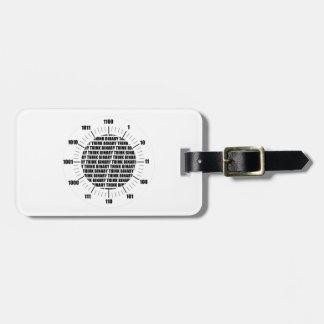 Piense el reloj binario (el humor del friki) etiqueta de equipaje