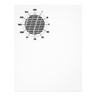 Piense el reloj binario (el humor del friki) plantillas de membrete
