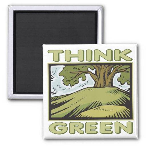 Piense el roble verde imán cuadrado