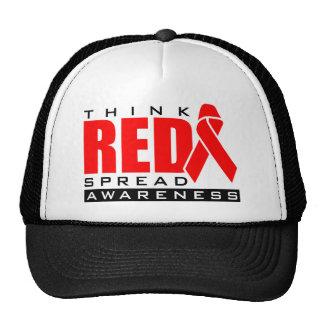 Piense el rojo…. Separe la conciencia Gorras De Camionero