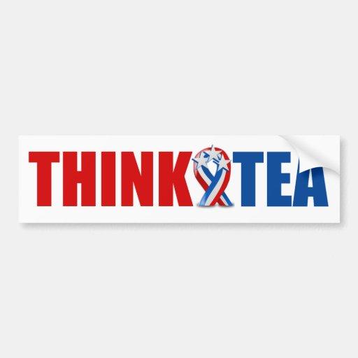 Piense el té pegatina de parachoque