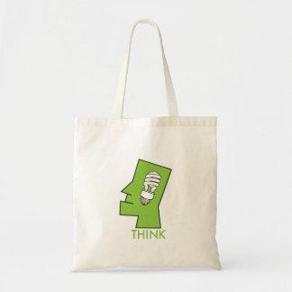 Piense el tote verde bolsa tela barata
