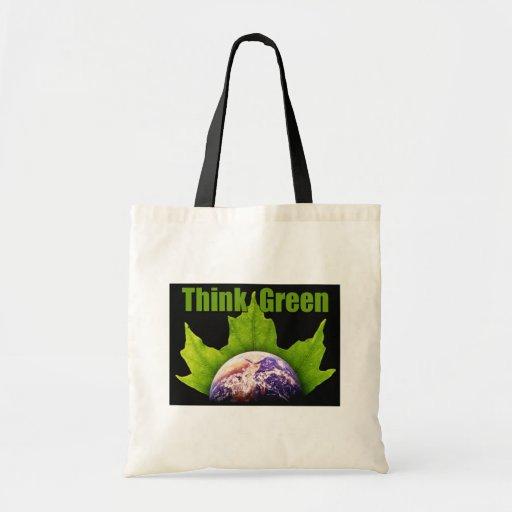 Piense el totebag verde bolsa