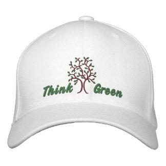 Piense el ~ verde Ballcap Gorra De Beisbol Bordada