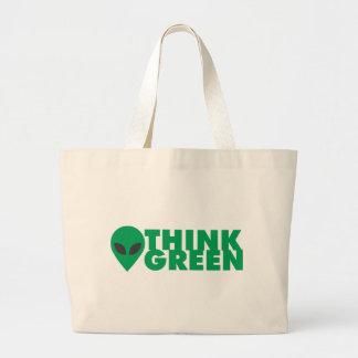 Piense el verde bolsa tela grande