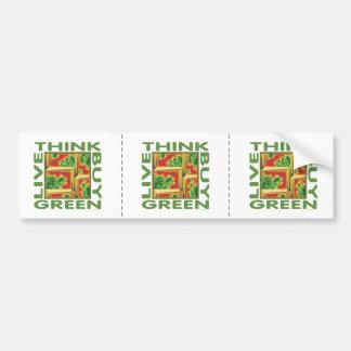 Piense el verde, cactus pegatina para auto