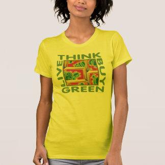 Piense el verde, cactus camiseta