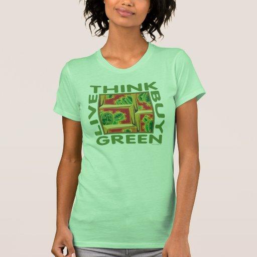 Piense el verde, cactus camisetas