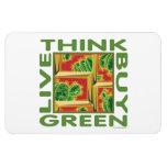 Piense el verde, cactus iman de vinilo