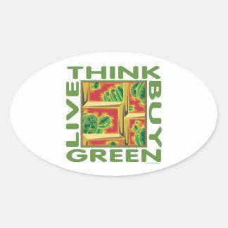 Piense el verde, cactus pegatina ovalada