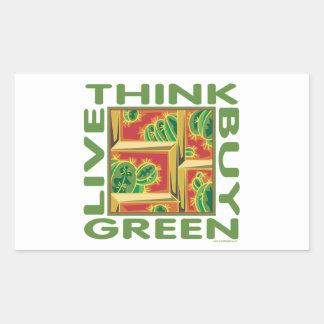 Piense el verde, cactus pegatina rectangular
