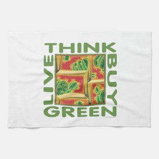Piense el verde cactus toalla de mano