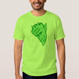 Piense el verde con el duende diabólico playeras