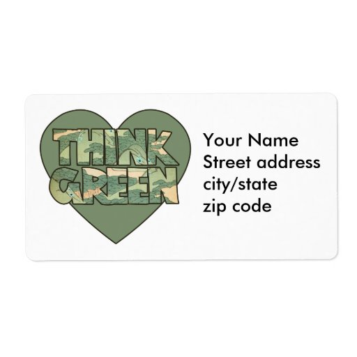 Piense el verde etiqueta de envío