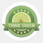 Piense el verde etiqueta redonda