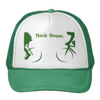 Piense el verde gorros bordados