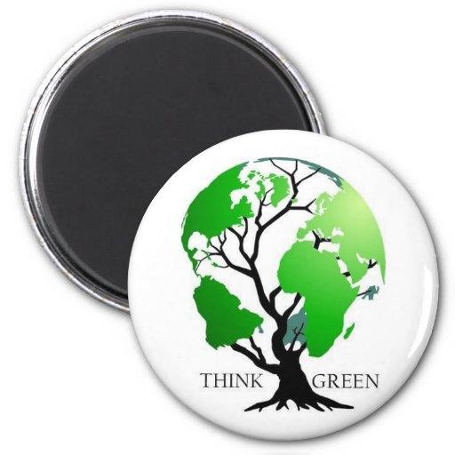 Piense el verde imán redondo 5 cm