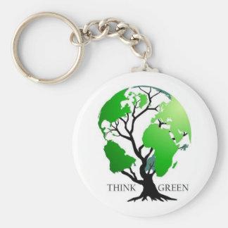 Piense el verde llavero redondo tipo pin