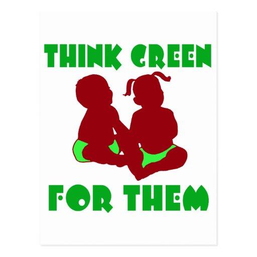 Piense el verde para ellos postales