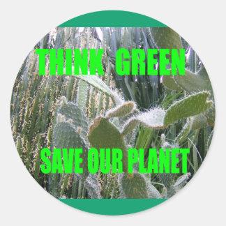 Piense el verde etiquetas redondas