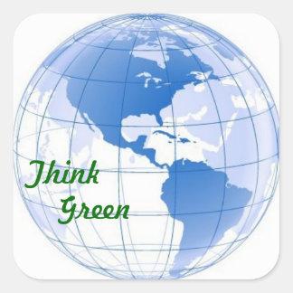 Piense el verde colcomanias cuadradass