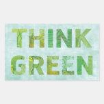 Piense el verde - pegatina del rectángulo