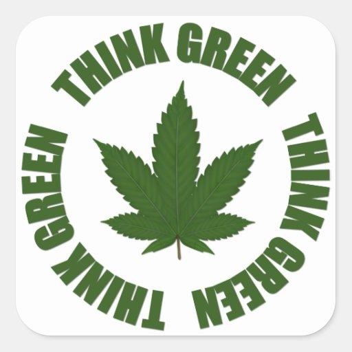 Piense el verde pegatinas cuadradas personalizadas
