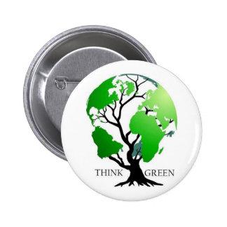 Piense el verde pin redondo de 2 pulgadas