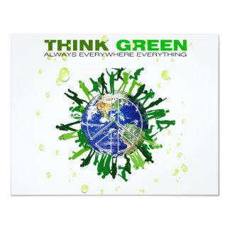 Piense el verde: Planeta pacífico Invitación 10,8 X 13,9 Cm