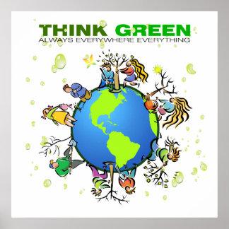 Piense el verde - plante un árbol póster