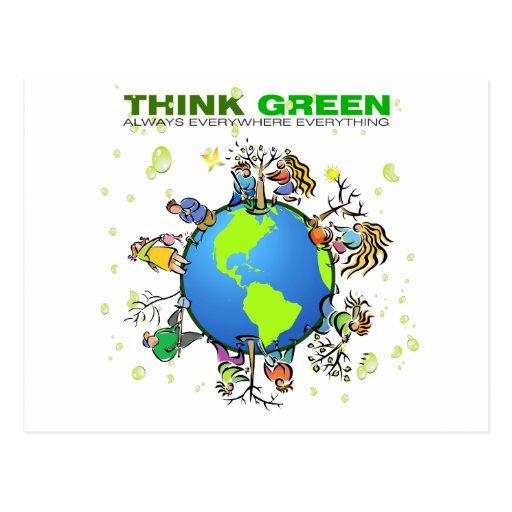 Piense el verde - plante un árbol tarjetas postales