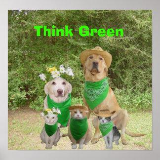 Piense el verde póster