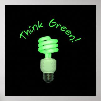 ¡Piense el verde! Poster Póster