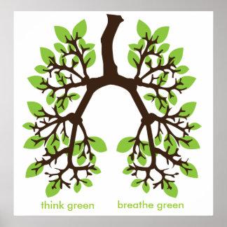piense el verde, respire el verde póster