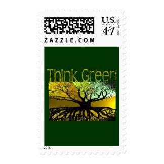 Piense el verde sello postal