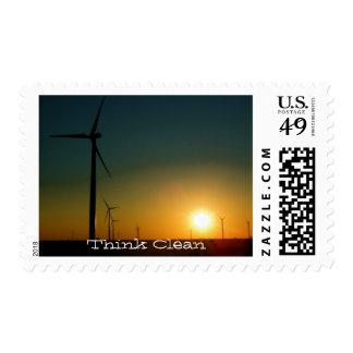 Piense el verde timbre postal