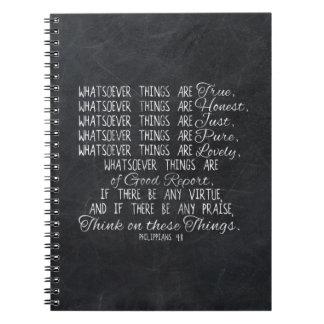 Piense en escritura cristiana de la biblia de notebook