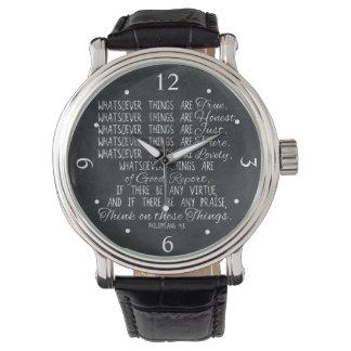 Piense en escritura cristiana de la biblia de reloj de mano