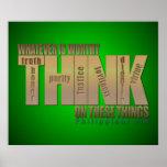 Piense en estas cosas - 4:8 de los filipenses posters