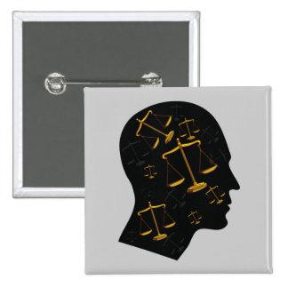 Piense en la justicia - botón de la ley pins