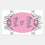 Piense en rosa rectangular pegatina