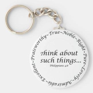 Piense en tales cosas… 4:8 de los filipenses llavero redondo tipo pin